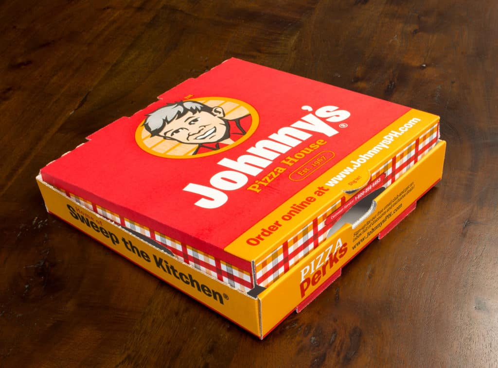 Johnny's Pizza House pizza box packaging rebranding design