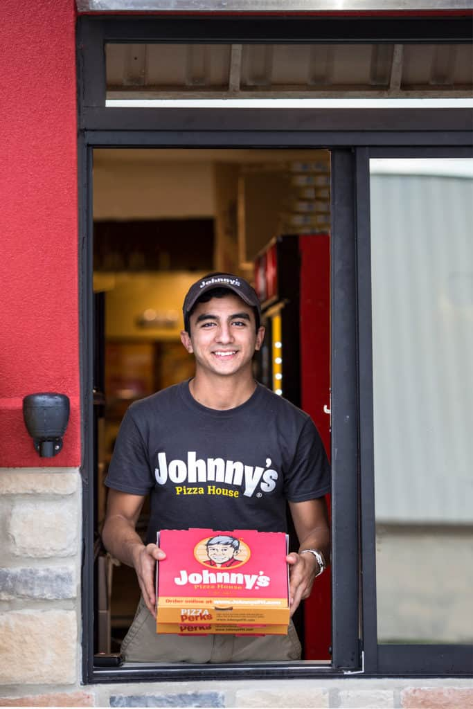 Johnny's PIzza House rebranding employee uniforms