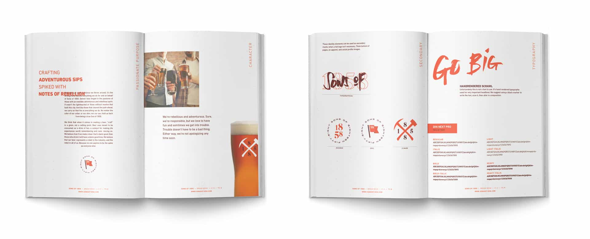 Sons of 1858 craft beer branding, packaging and design brand standards book design