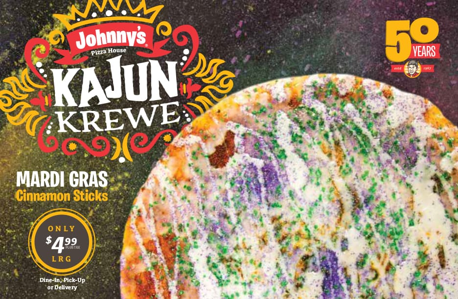 Johnny's Pizza House Kajun Krewe limited time offer marketing campaign creative box topper marketing piece