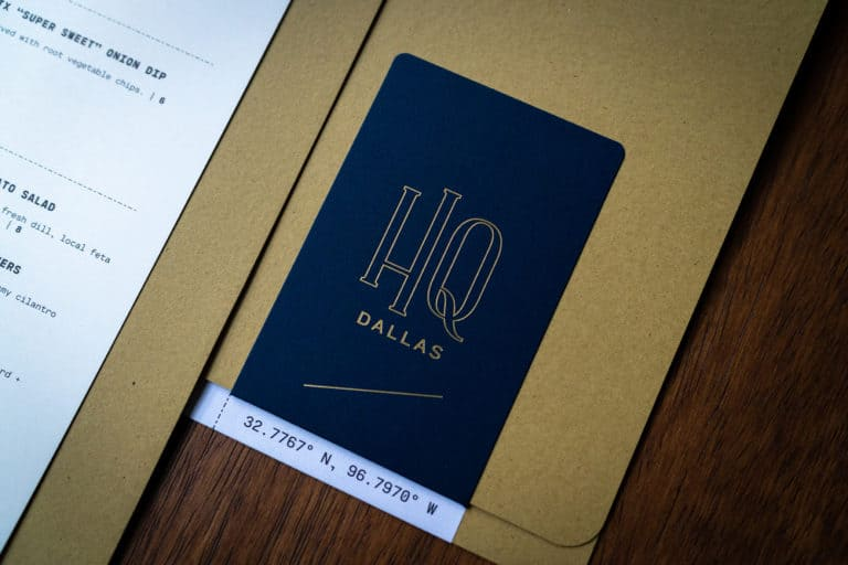 HQ Dallas bar restaurant branding for rooftop of Courtyard Marriot Dallas Texas