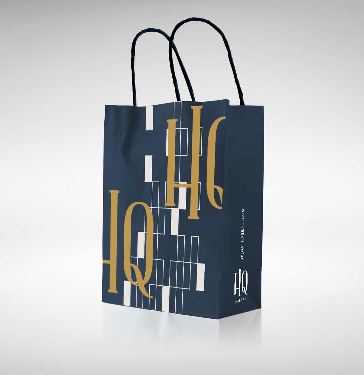 HQ Dallas rooftop bar experience branding and design by Vigor for Courtyard Marriott takeout bags
