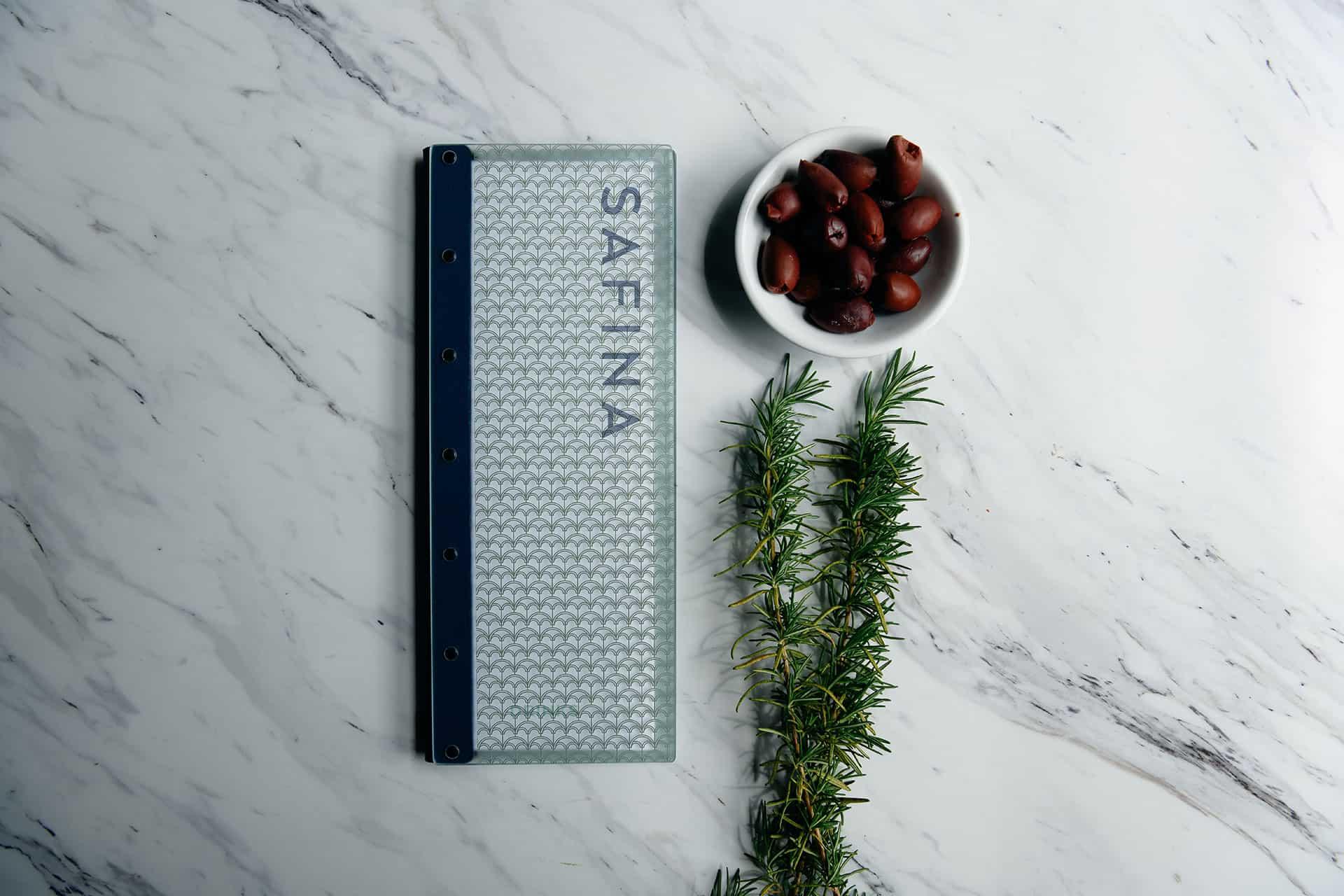Safina Mediterranean restaurant branding and concept development menu design
