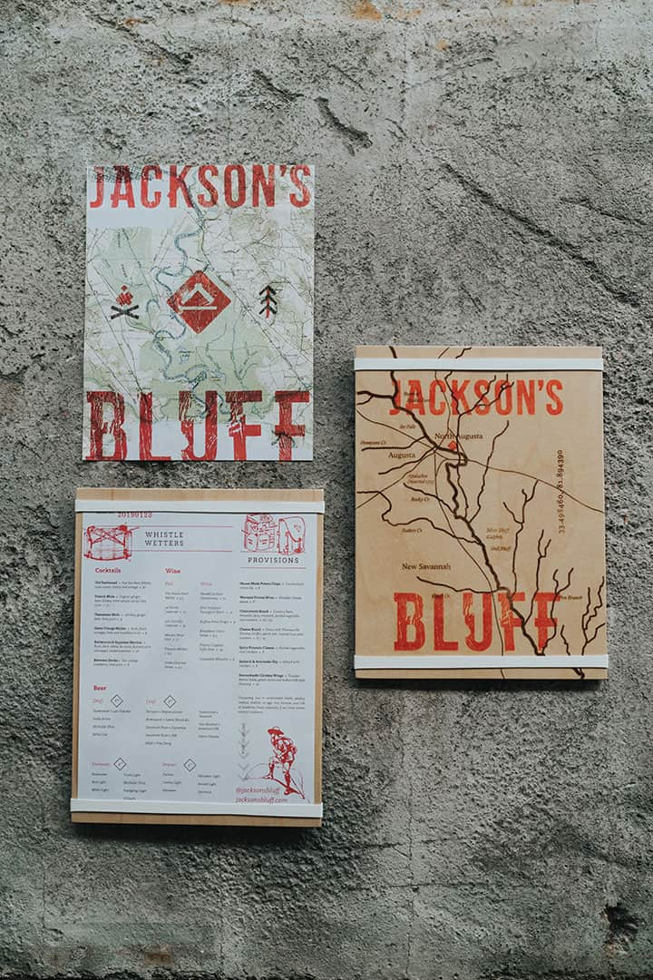 Jackson's Bluff lookout and canteen rooftop and bar branding for Crowne Plaza menu designs