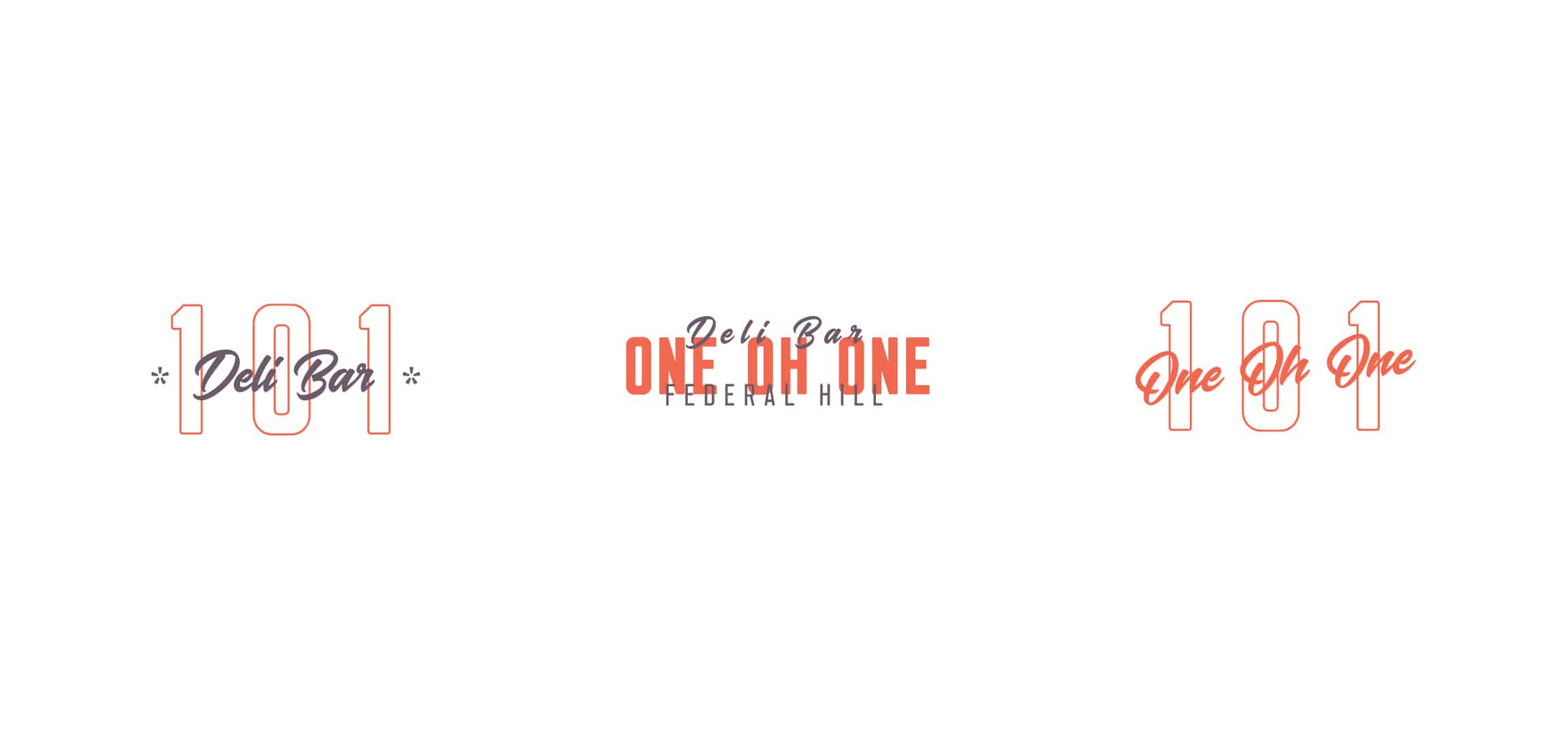 101 Delibar restaurant concept development and branding secondary logo marks and designs