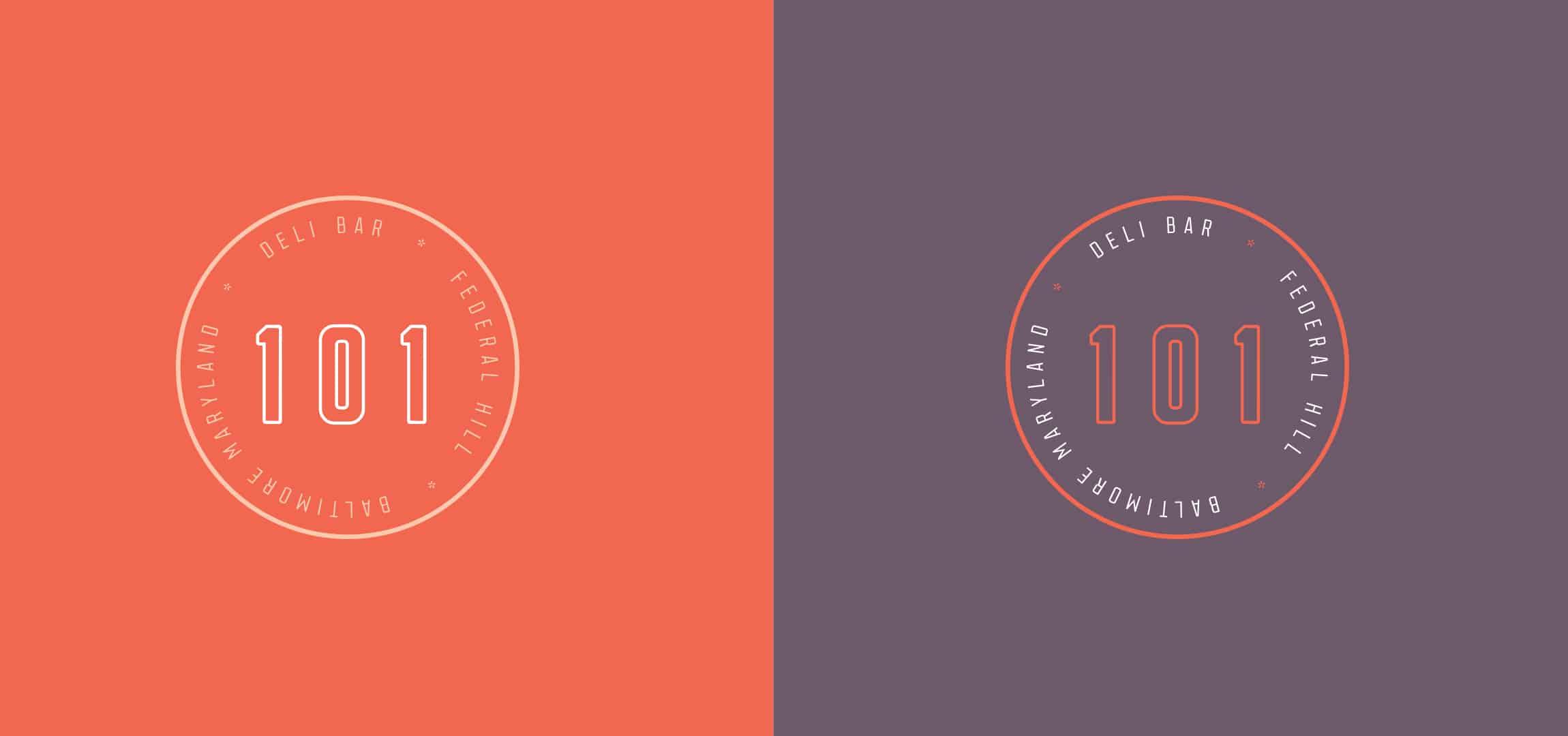 101 Delibar restaurant concept development and branding logo variations