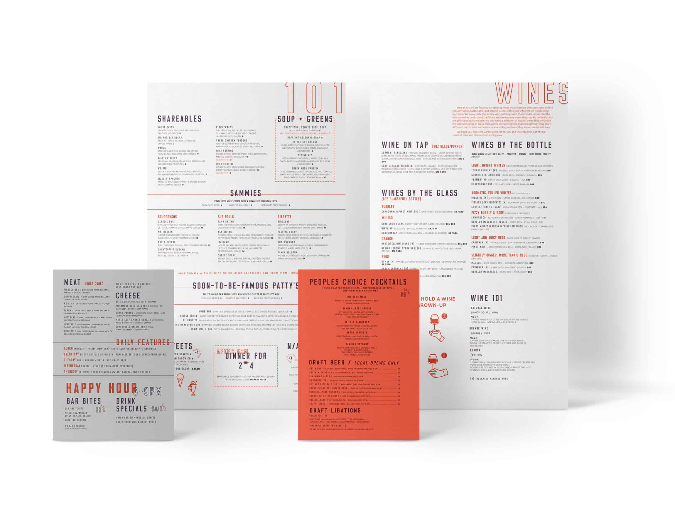 101 Delibar restaurant concept development and branding menu design and branding