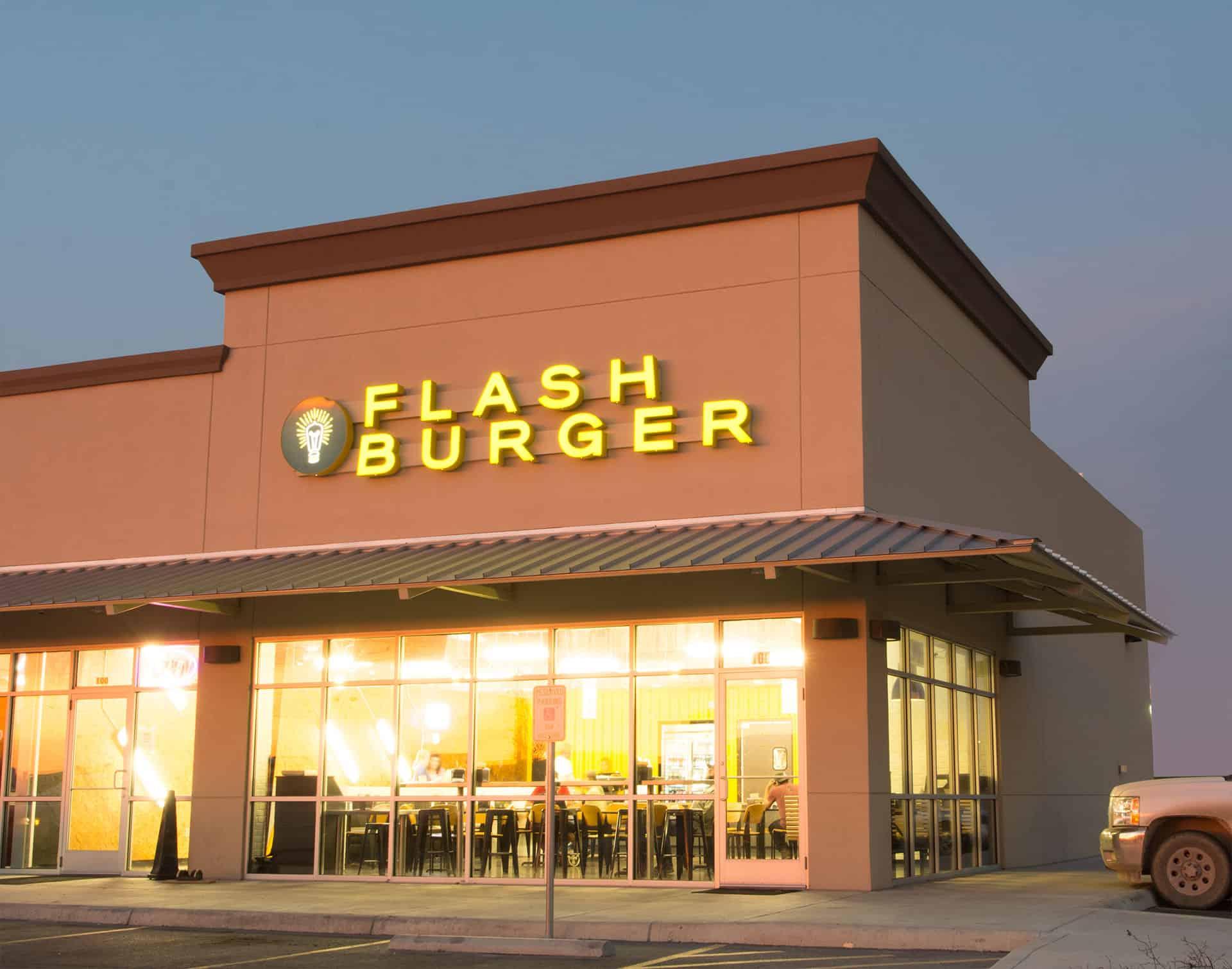 Flash Burger better burger fast casual restaurant branding and concept development facade design