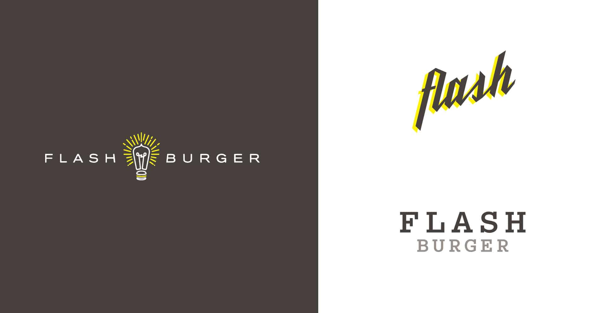 Flash Burger better burger fast casual restaurant branding and concept development identity design variations