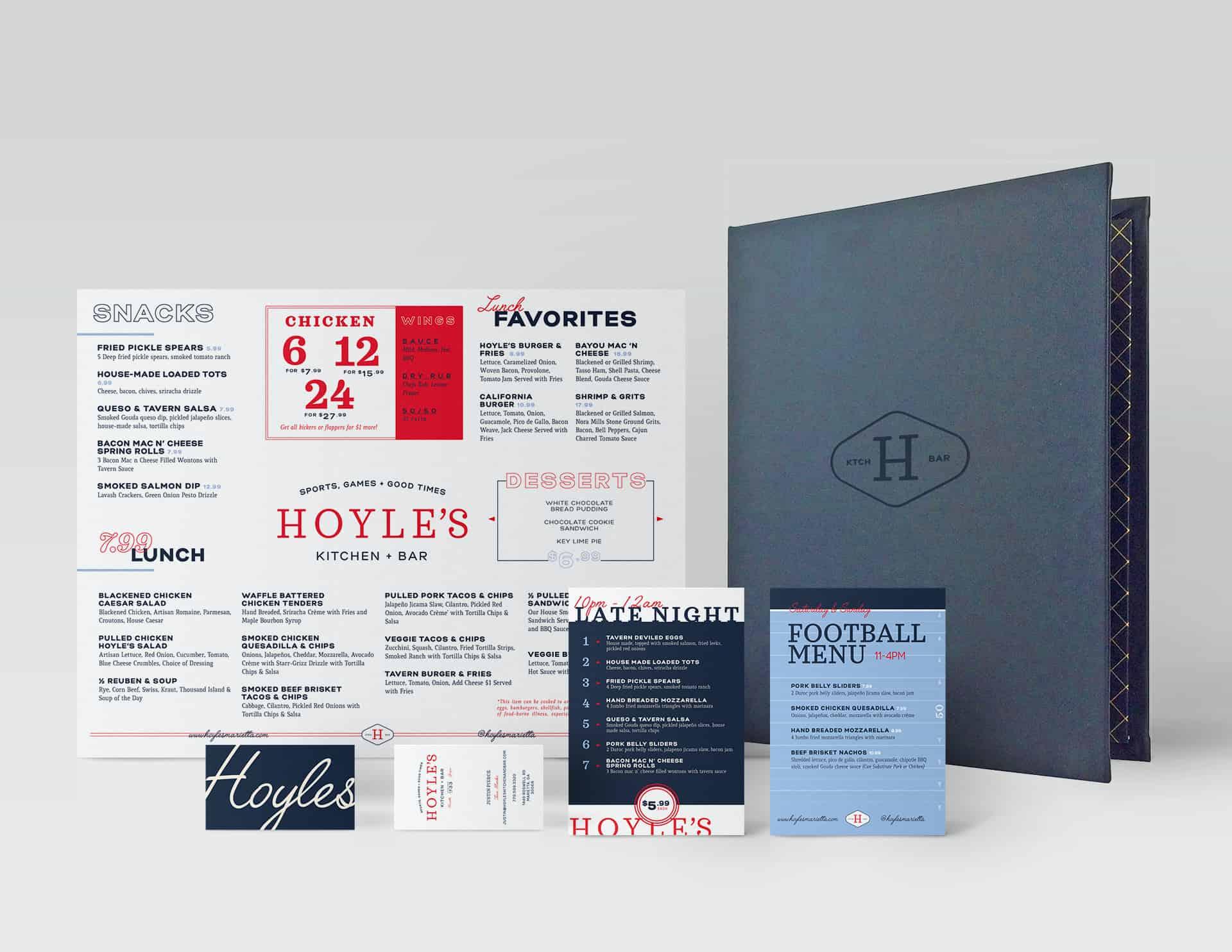 Hoyle's Kitchen & Bar restaurant menu design branding