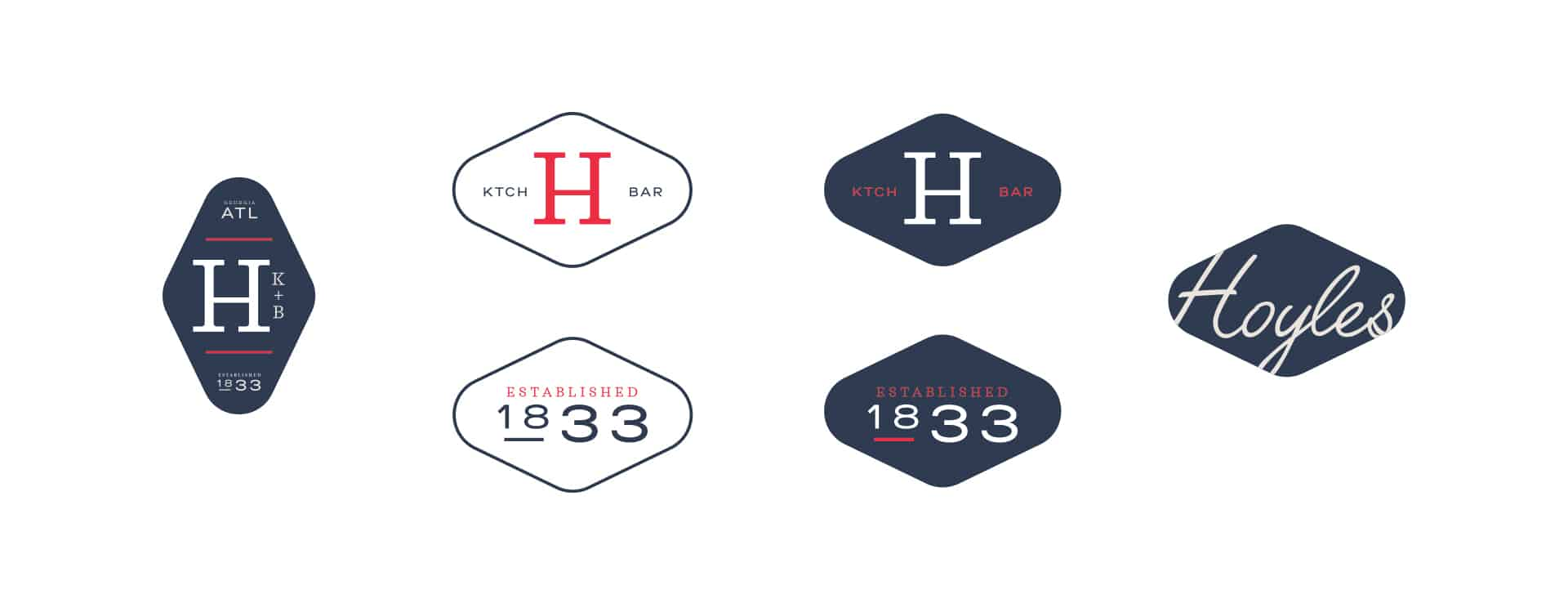 Hoyle's Kitchen & Bar restaurant rebranding and design secondary marks and logos