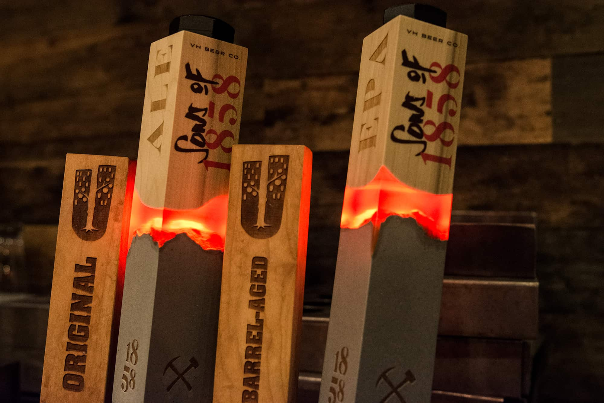 Sons of 1858 craft beer branding, packaging and design custom tap handles