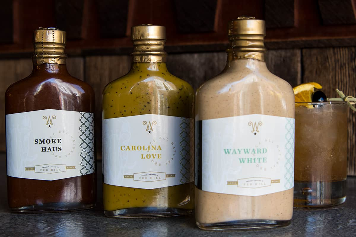 Wayward Bar & Kitchen branding and concept development design sauce packaging design