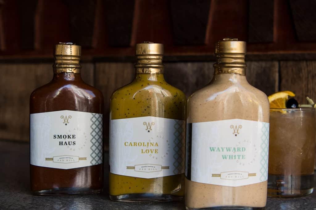 Wayward Bar & Kitchen branding and concept development design sauce packaging design