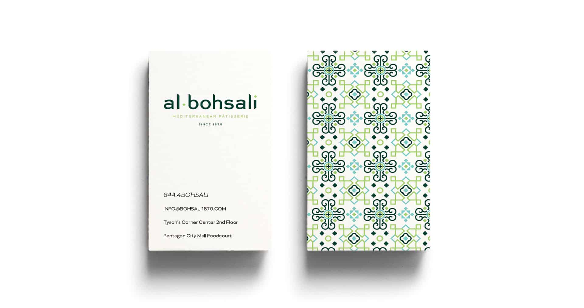 Al Bohsali Patisserie rebranding and design business card design