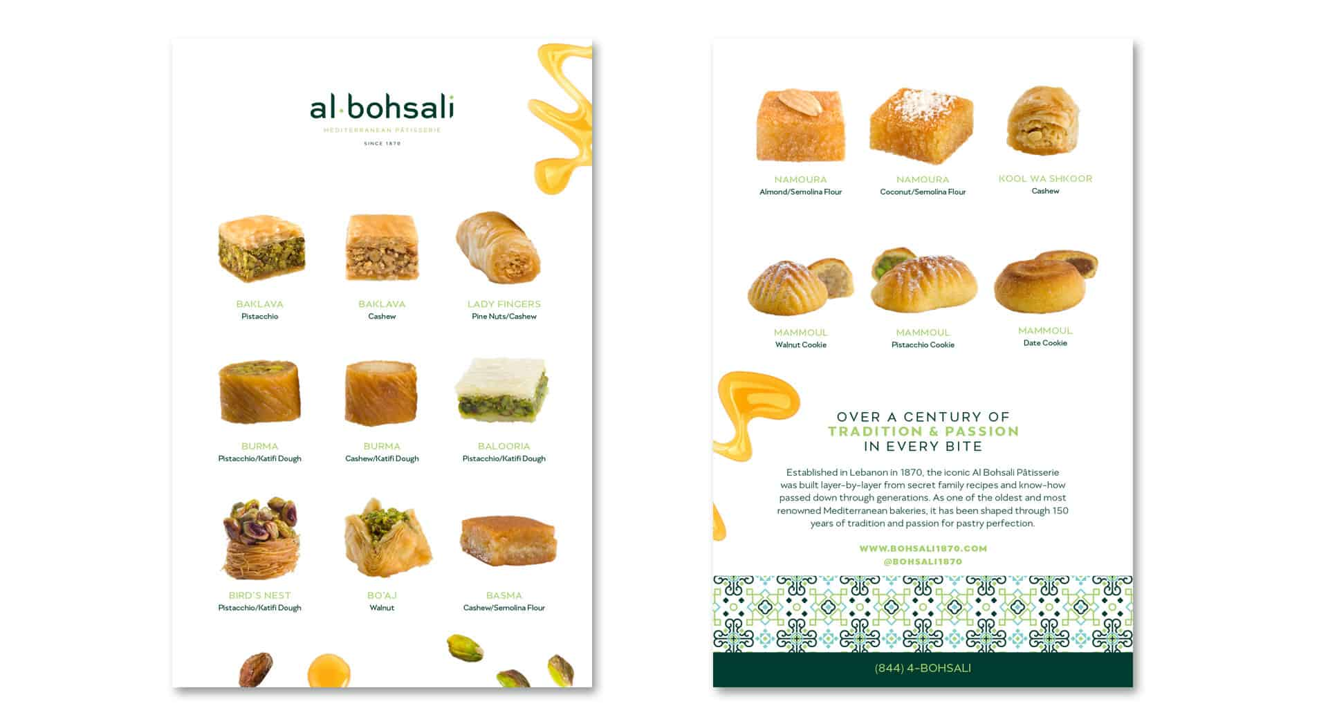 Al Bohsali Patisserie rebranding and design menu design