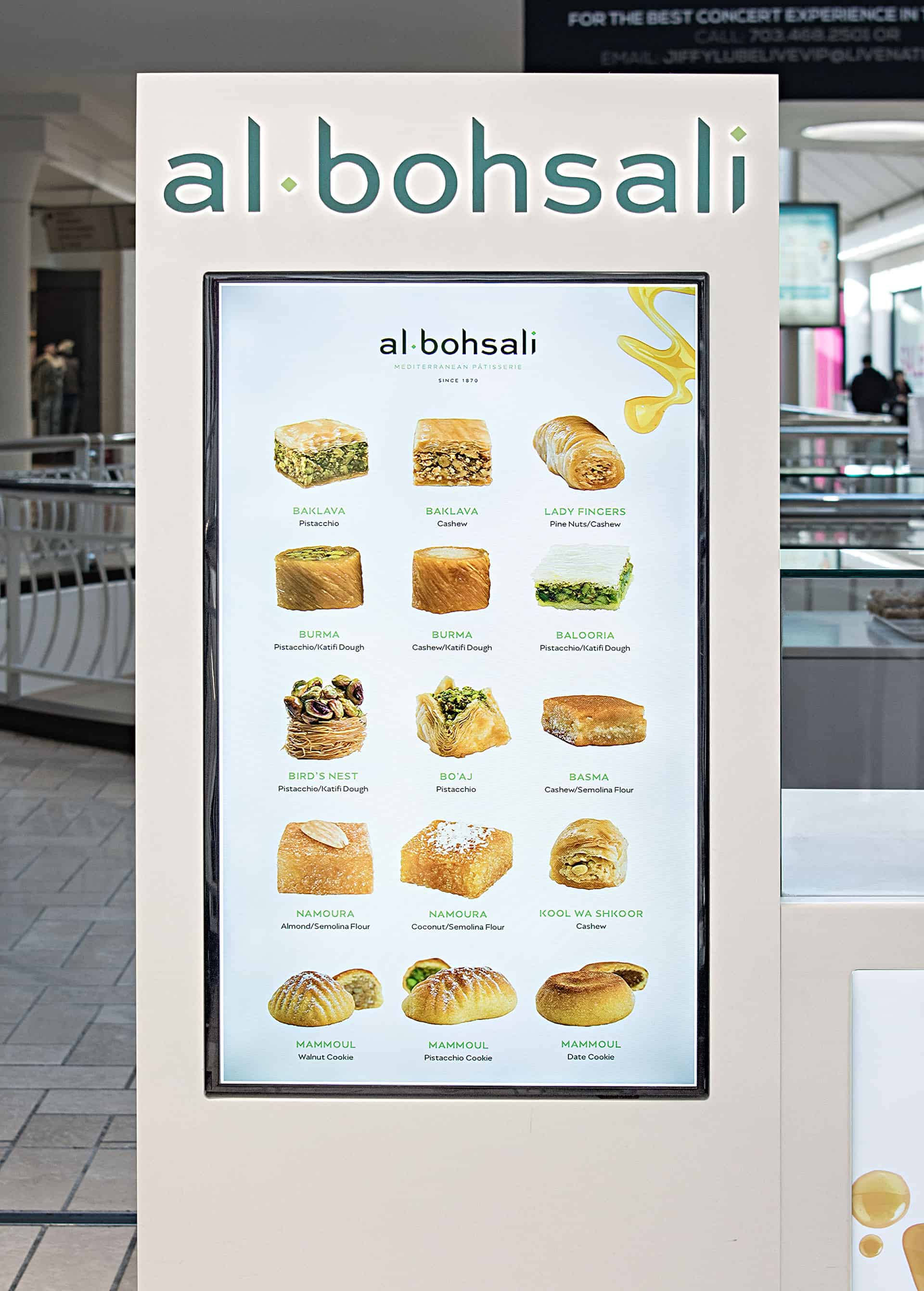 Al Bohsali Patisserie rebranding and design digital menu design