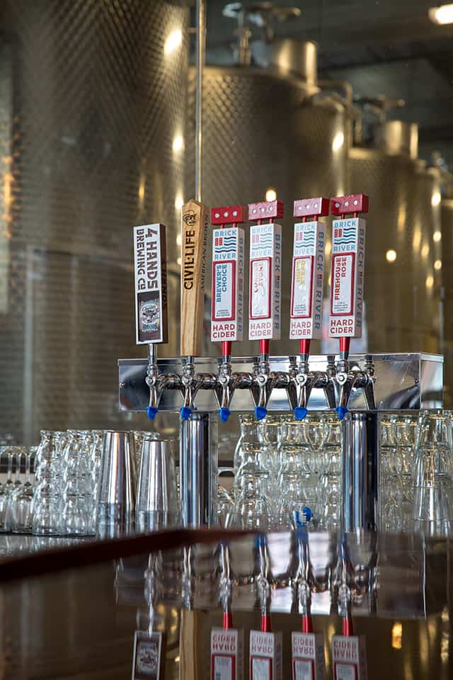 Brick River Cider branding tap handle design
