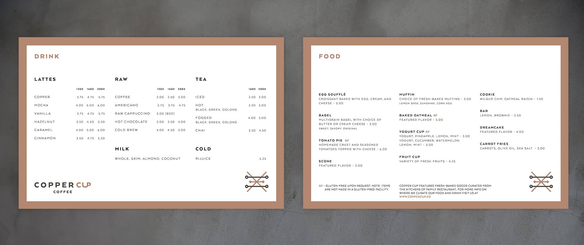 Copper Cup Coffee Company restaurant and cafe branding and concept development menu designs