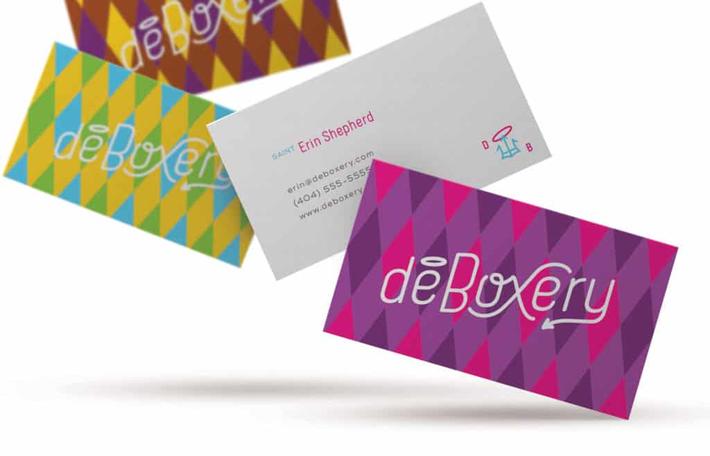 Deboxery monthly party kit company branding and design business cards