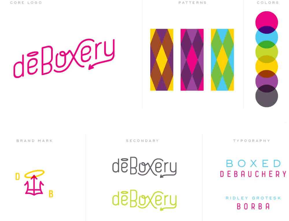 Deboxery monthly party kit company branding and design identity elements