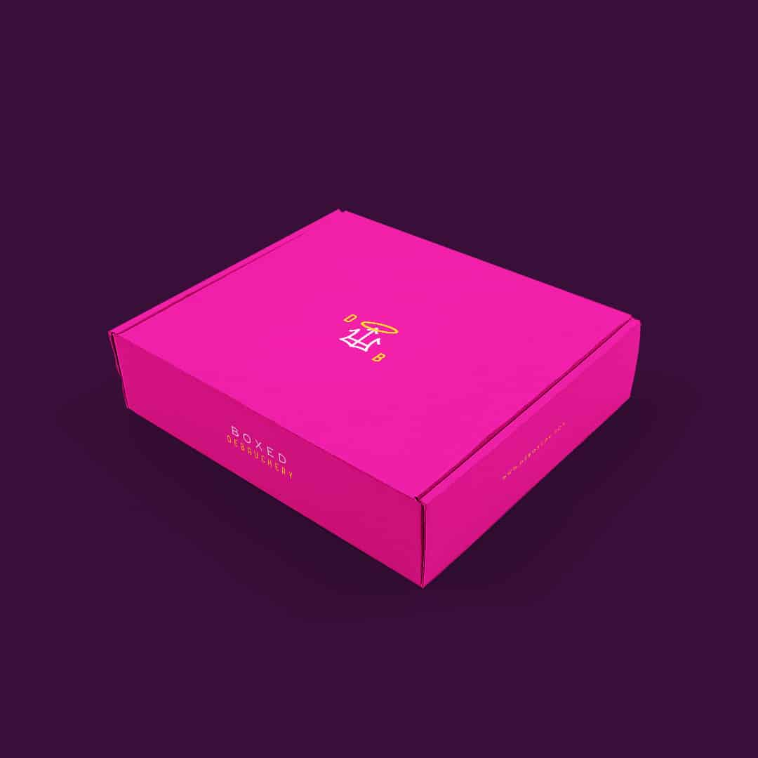 Deboxery monthly party kit company branding and design shipping box packaging design