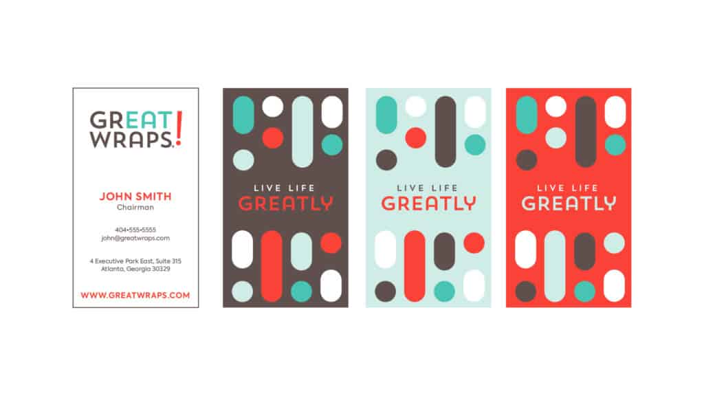 Great Wraps restaurant rebranding business card design