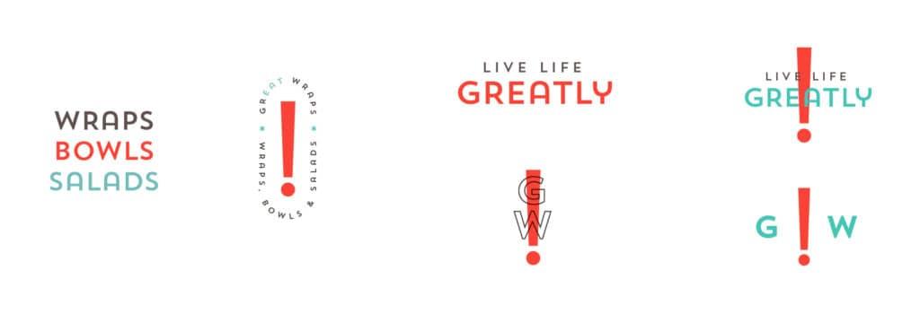 Great Wraps restaurant rebranding secondary design elements