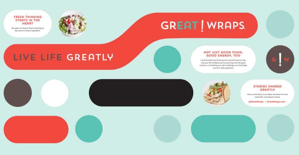 Great Wraps restaurant rebranding design wall art