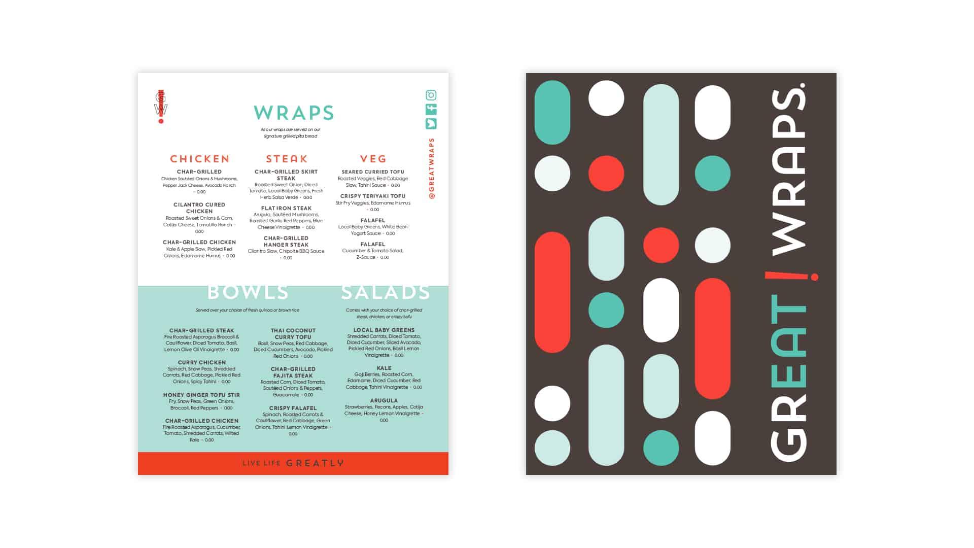 Great Wraps restaurant rebranding menu design