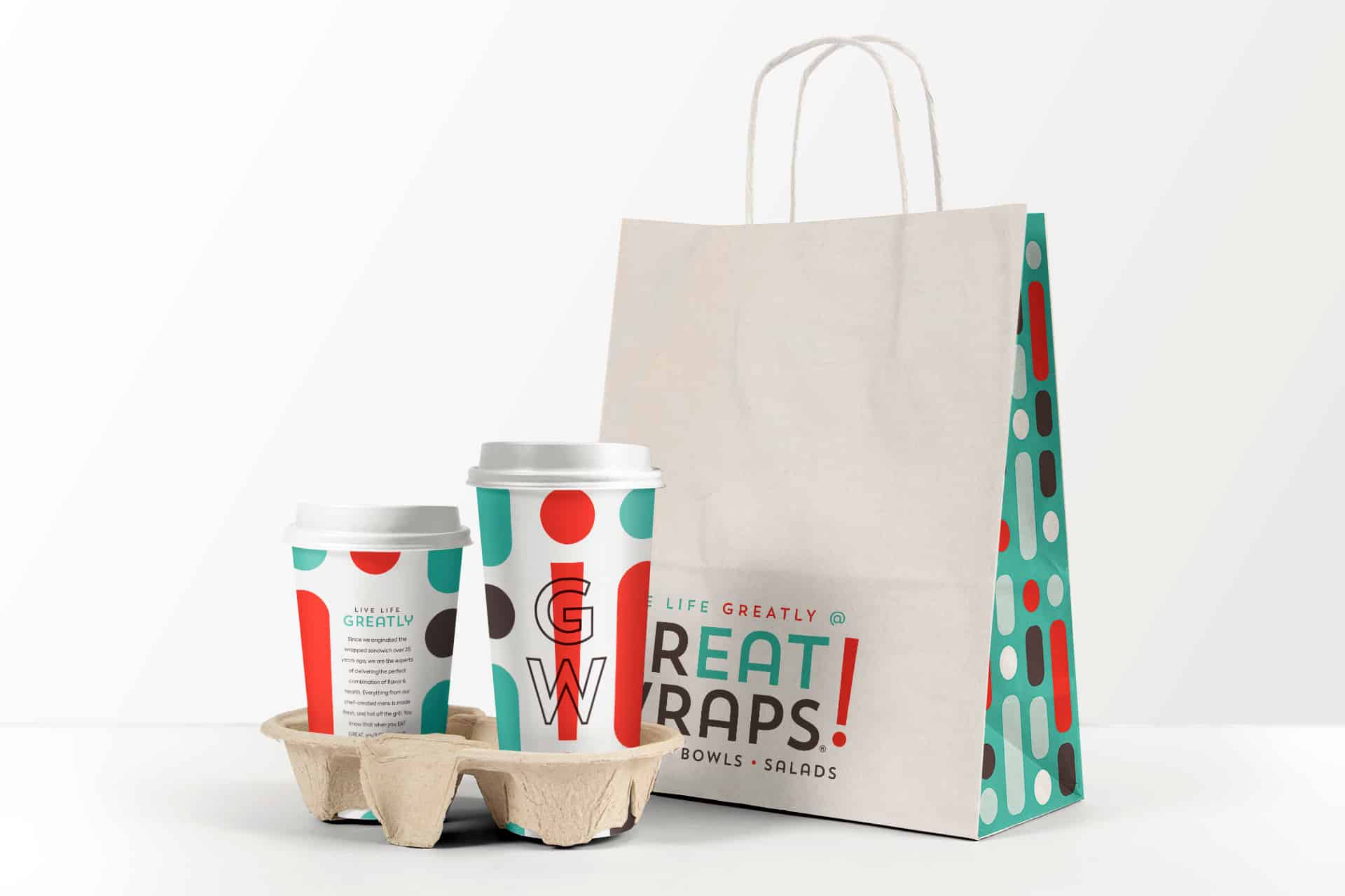 Great Wraps restaurant rebranding design packaging
