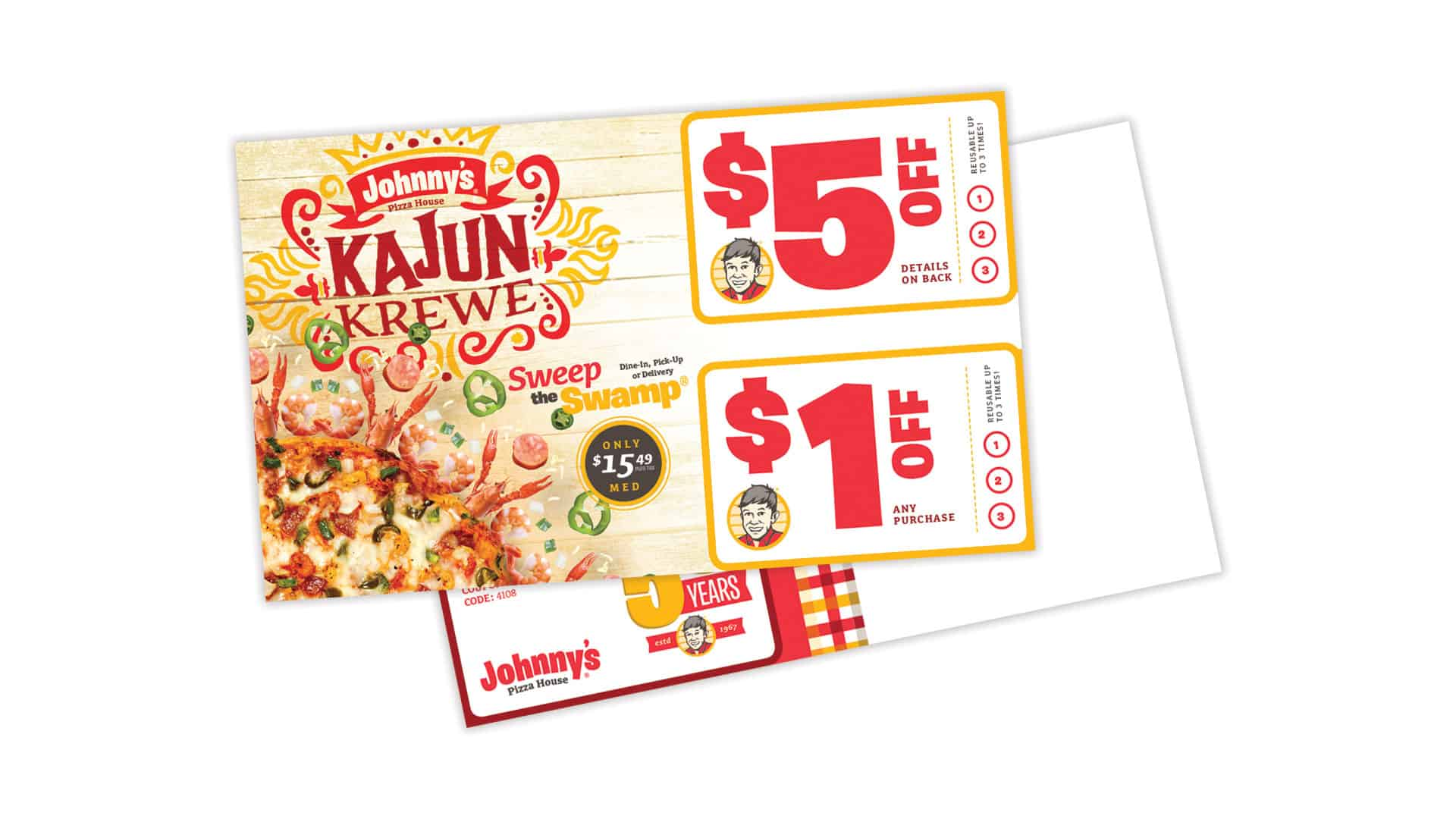 Johnny's Pizza House Kajun Krewe limited time offer marketing campaign creative direct mail marketing