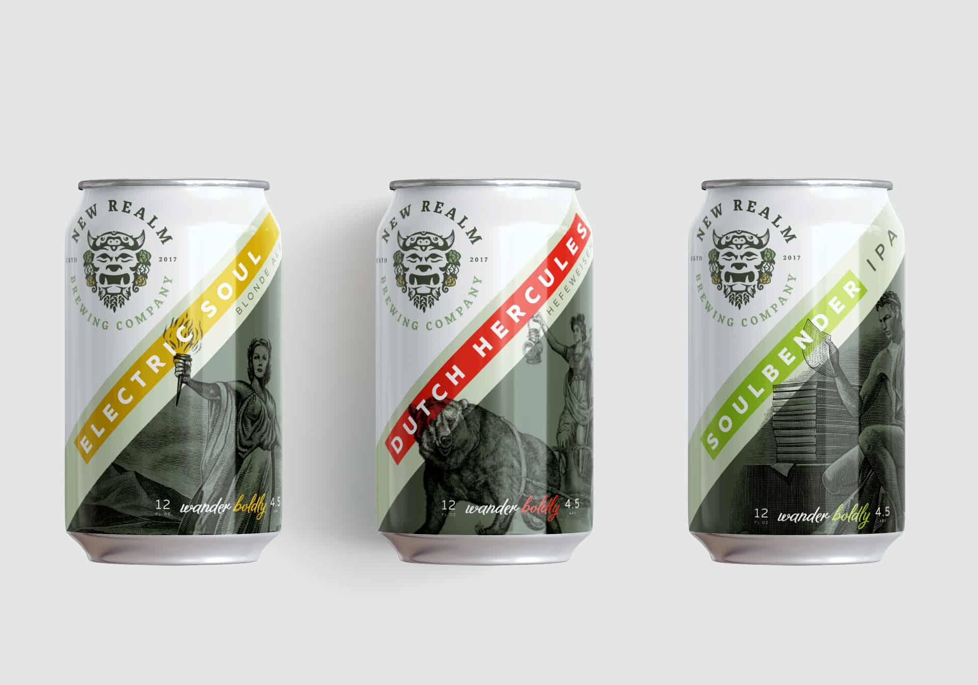 New Realm Brewing branding, naming, and package design for craft beer packaging design