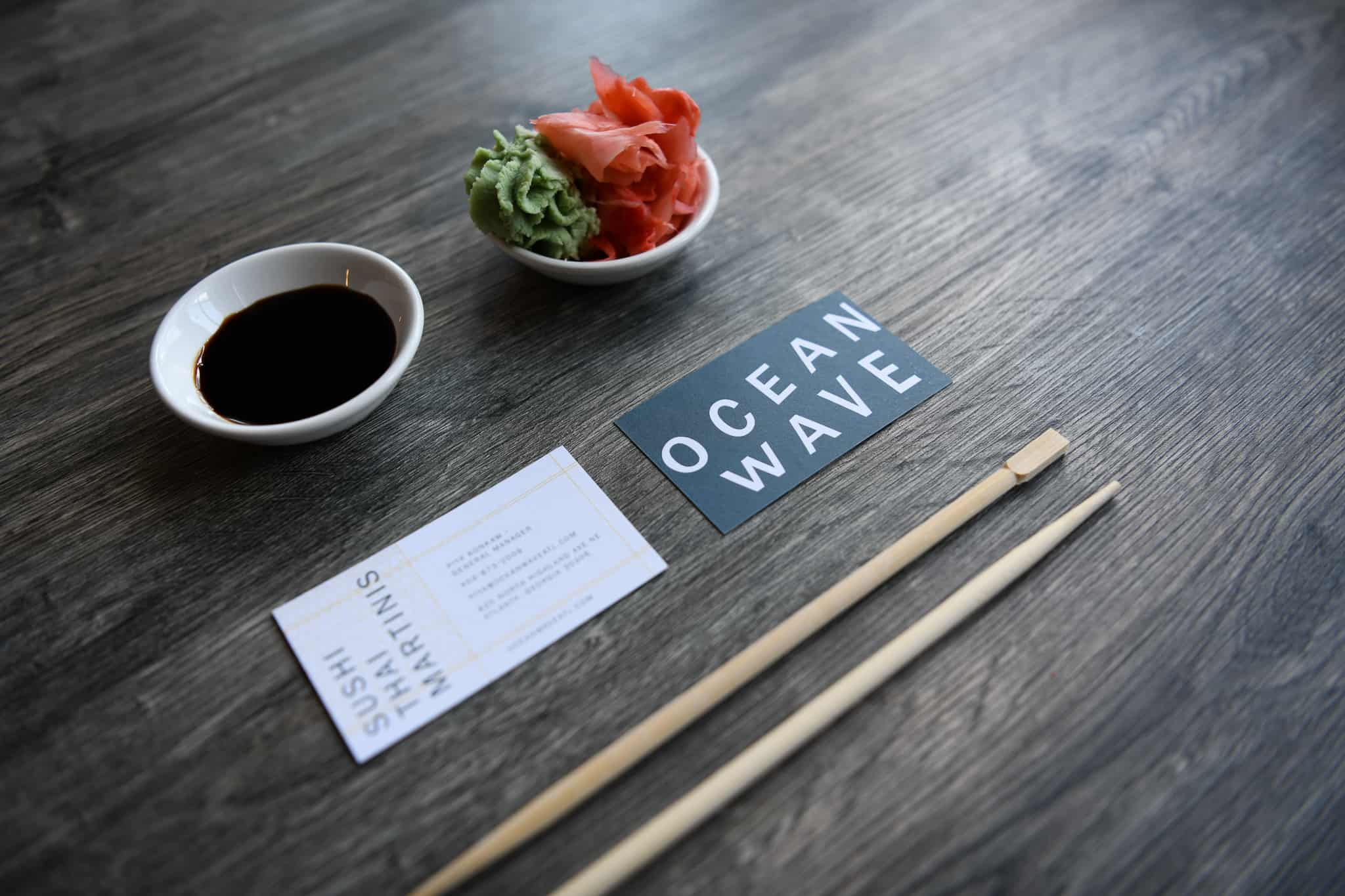OceanWave sushi thai restaurant business card design