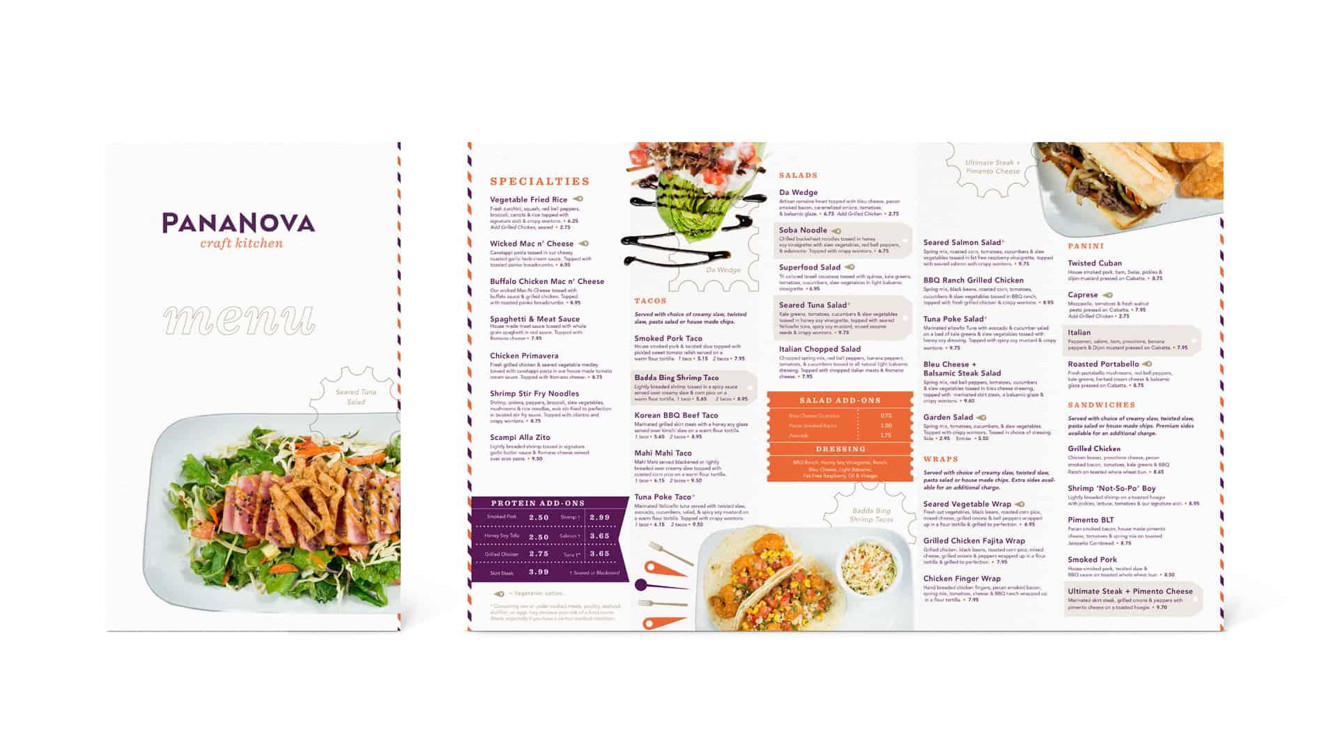 PanaNova fast casual restaurant menu design and menu consulting