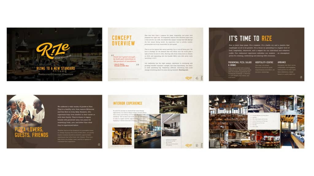 Rize Artisan Pizza fast casual restaurant branding and concept development concept pitch deck slides