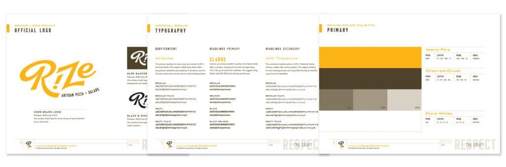 Rize Artisan Pizza fast casual restaurant branding and concept development brand standards guide design