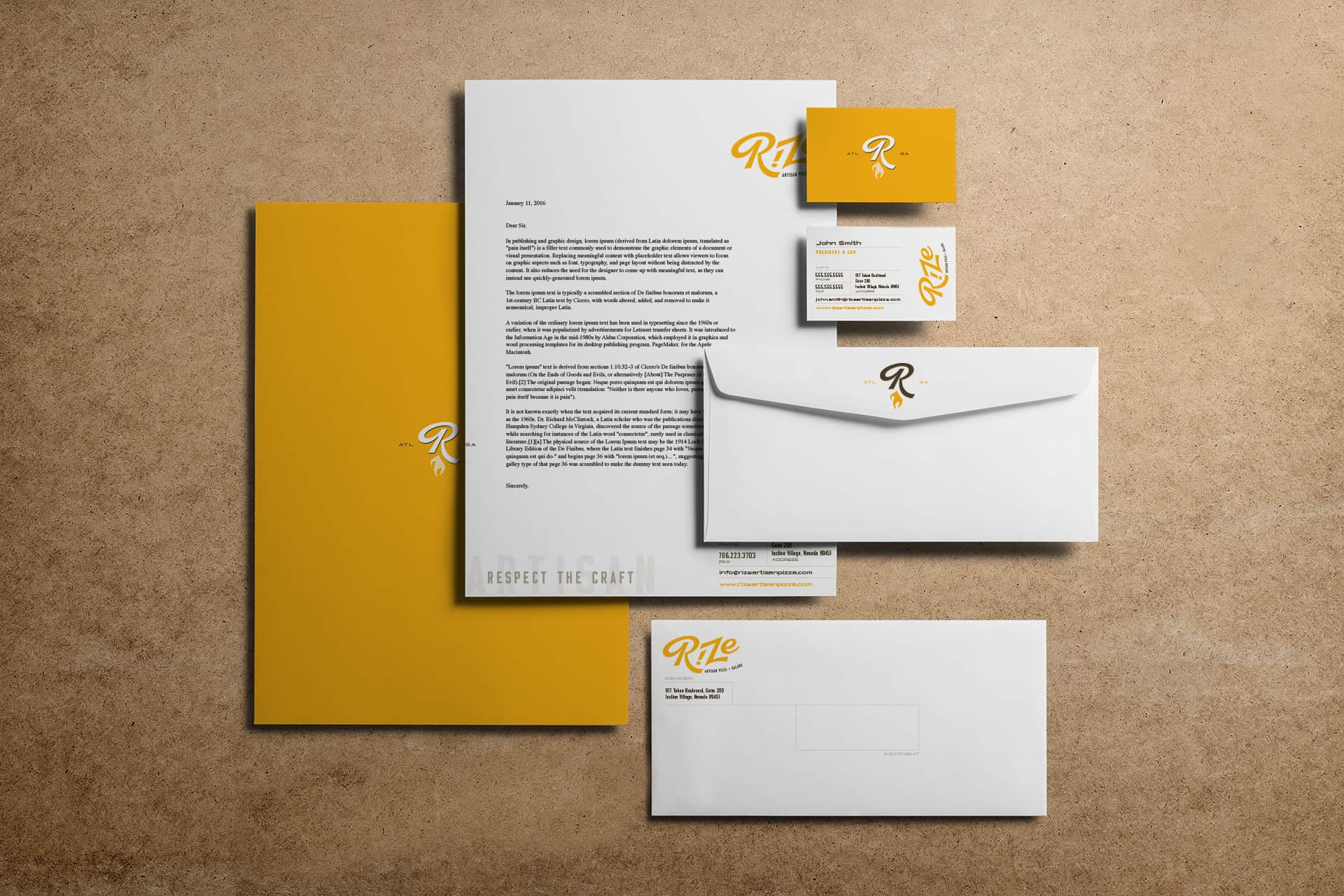Rize Artisan Pizza fast casual restaurant branding and concept development stationery and identity design