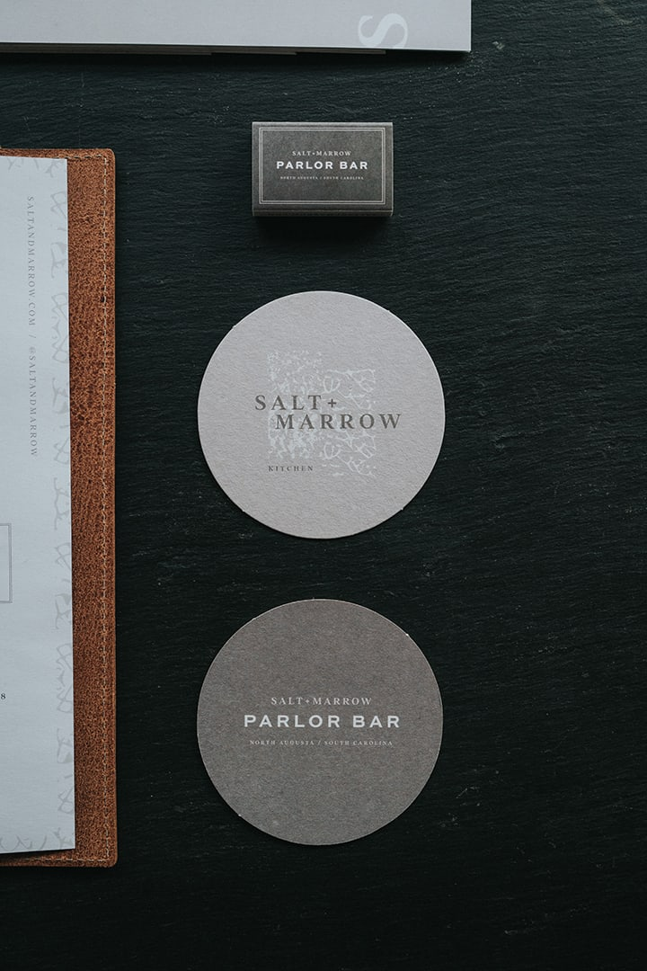 Salt & Marrow restaurant branding and F&B concept development for Crowne Plaza in North Augusta, South Carolina coaster design