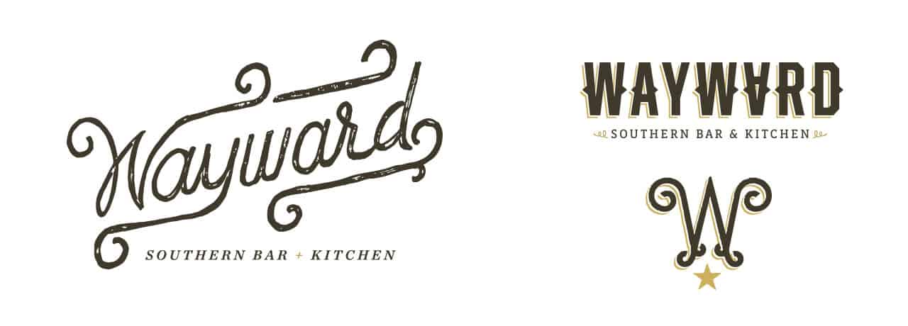 Wayward Bar & Kitchen branding and concept development design logo design