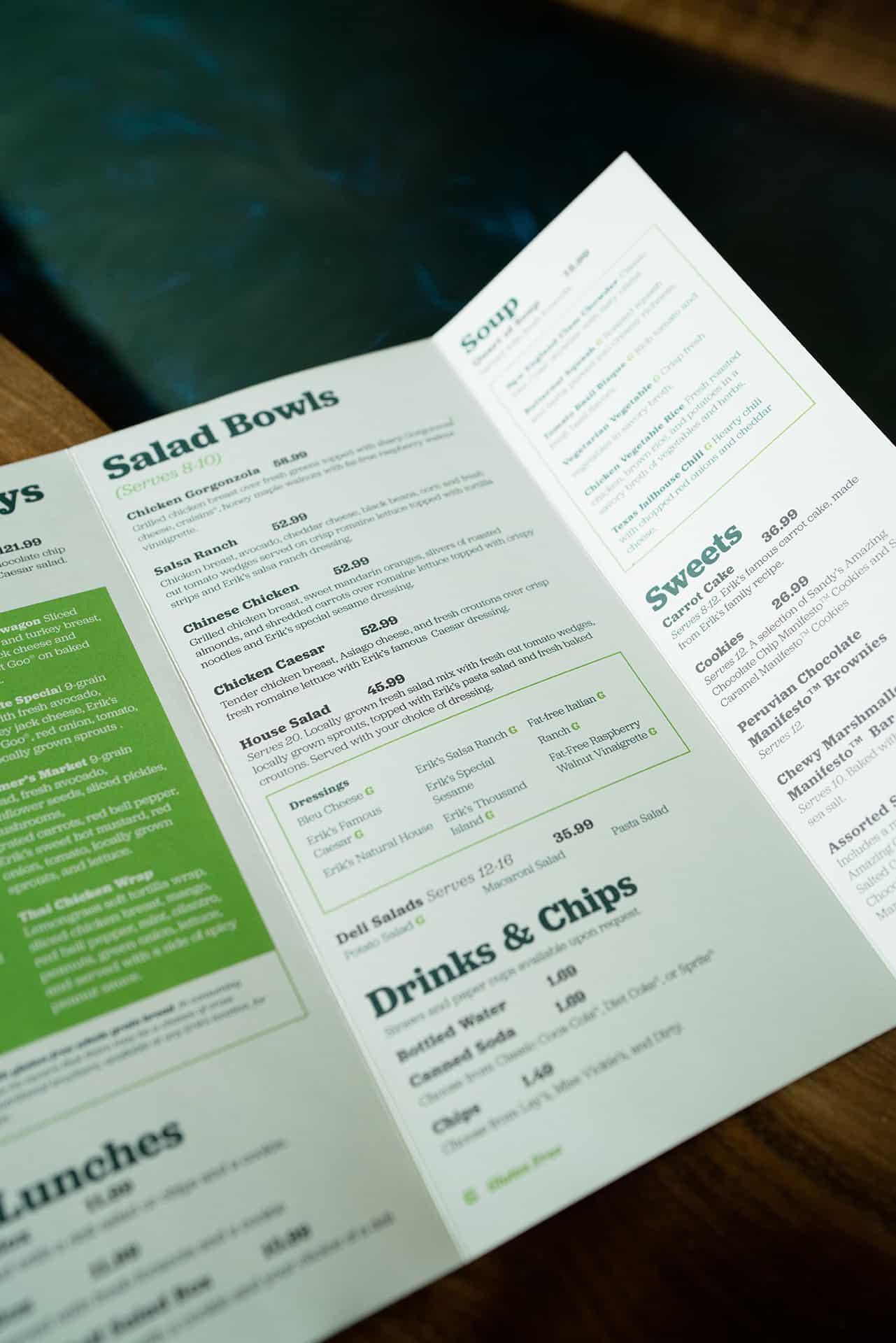 Erik's DeliCafé rebranding design catering design