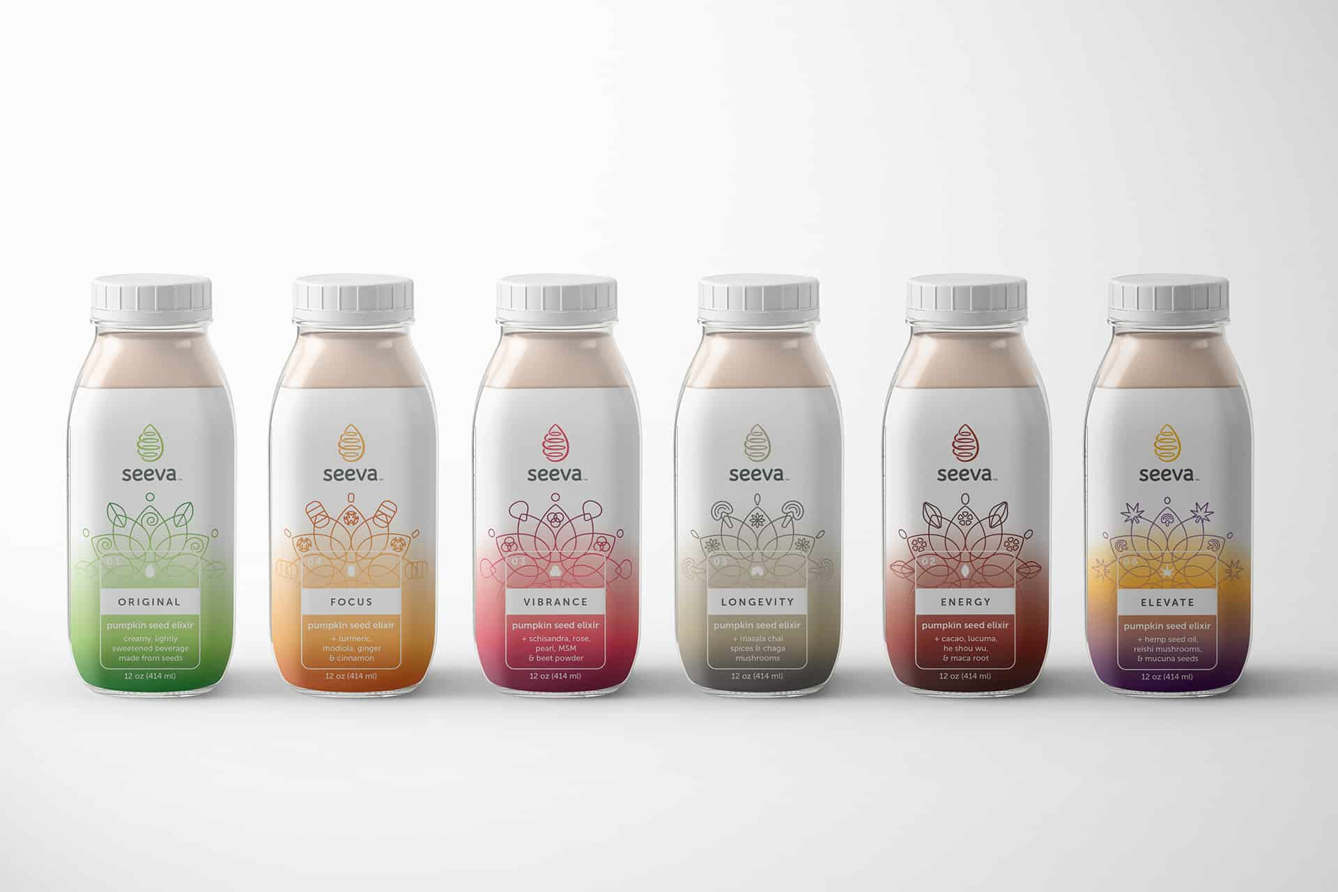 Seeva alternative milk beverage branding and packaging