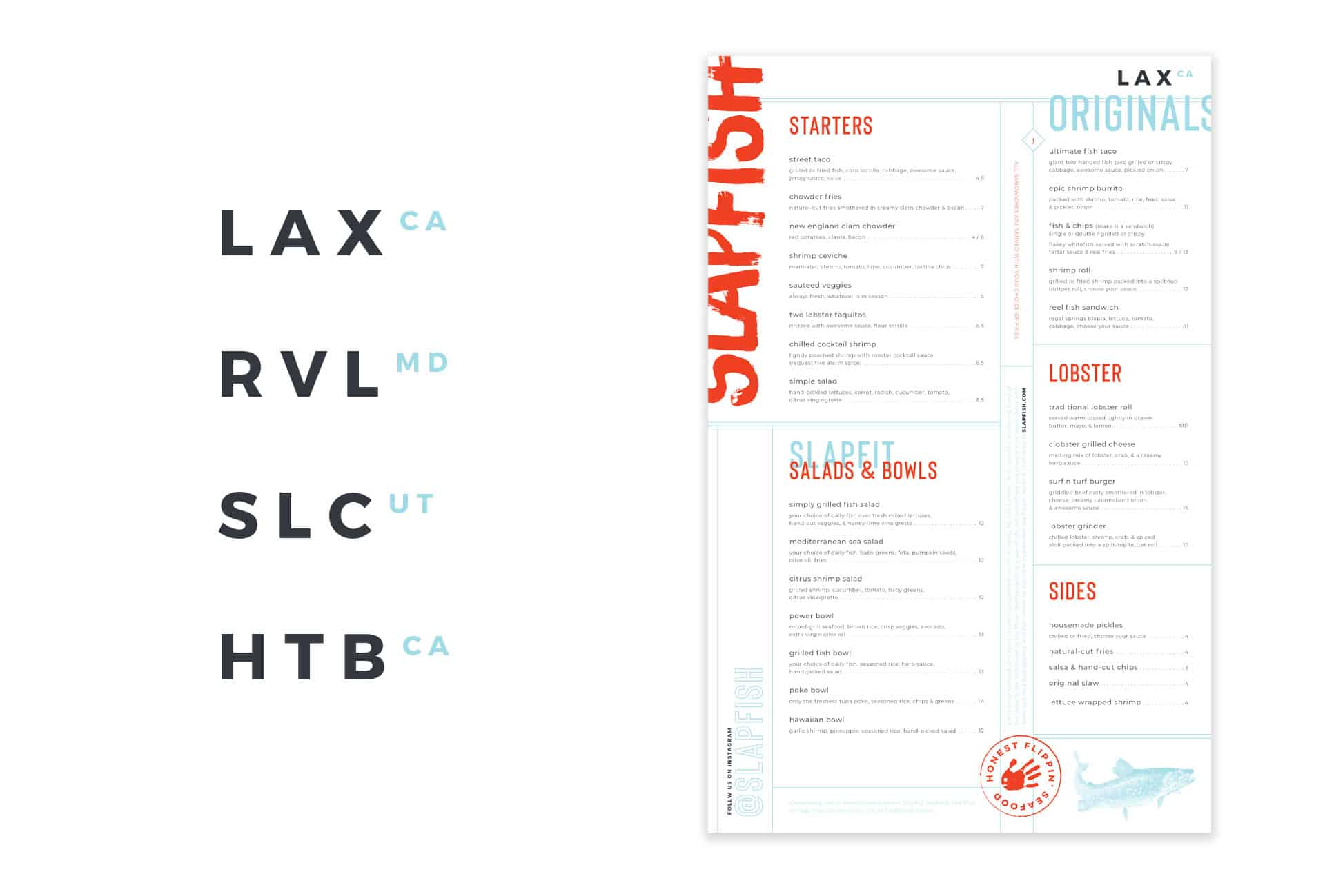 SlapFish seafood restaurant branding rebranding menu design