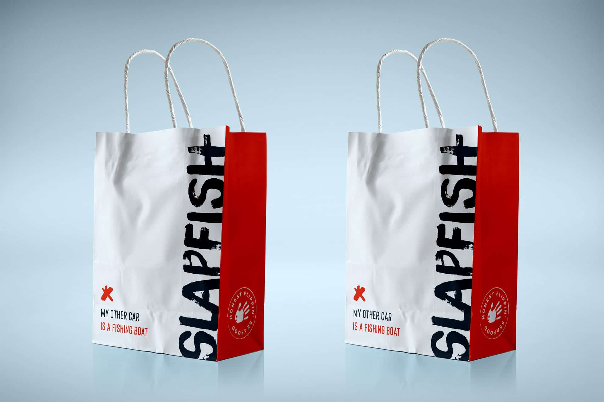 SlapFish seafood restaurant takeout packaging design