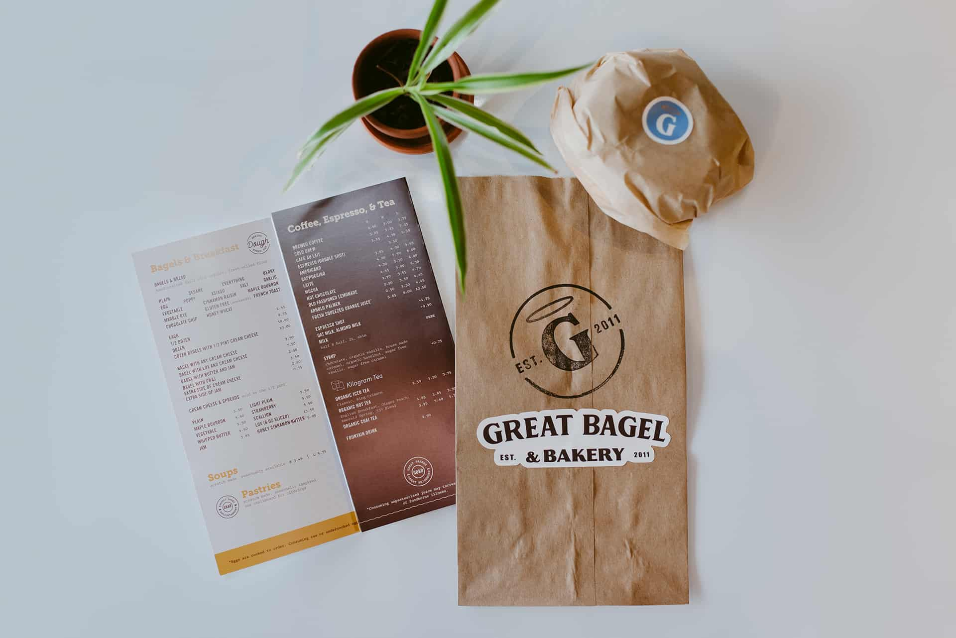 Great Bagel cafe interior design and branding