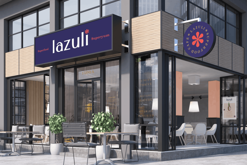 Lazuli cafe acai bowl restaurant branding rebranding and design