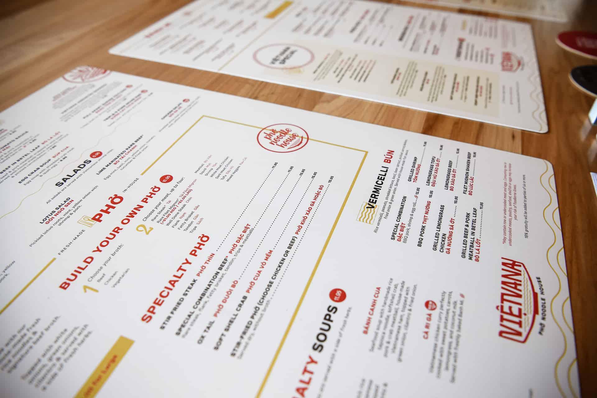 Vietvana - Vietnamese full service restaurant branding - menu systems design