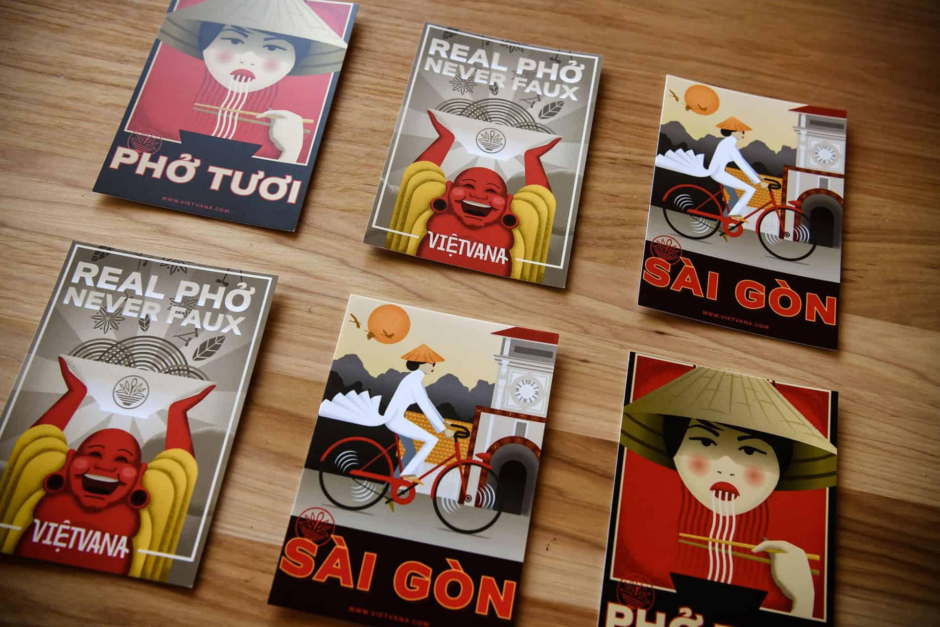 Vietvana - Vietnamese full service restaurant branding - postcard design