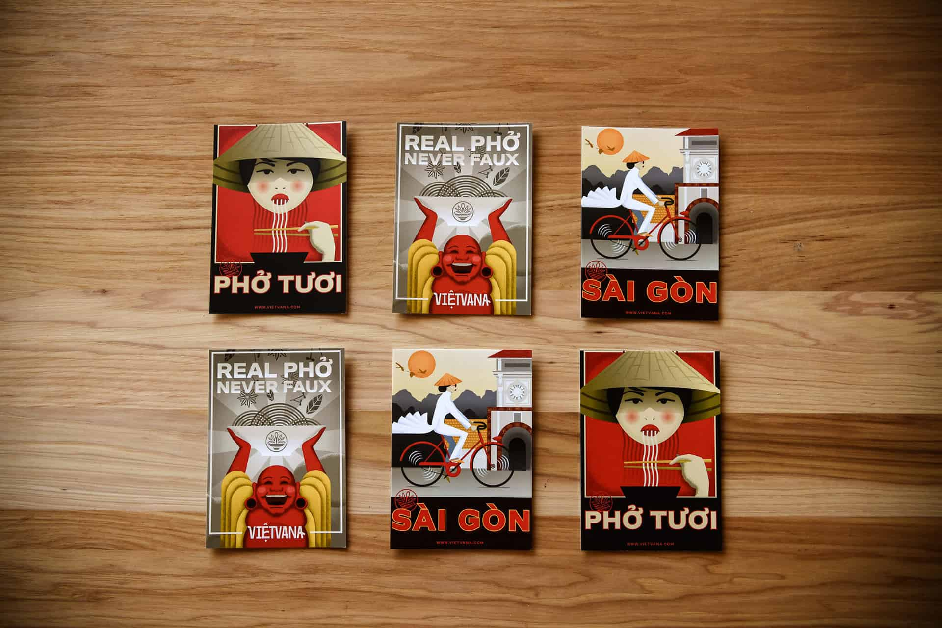 Vietvana - Vietnamese full service restaurant branding - custom illustrations