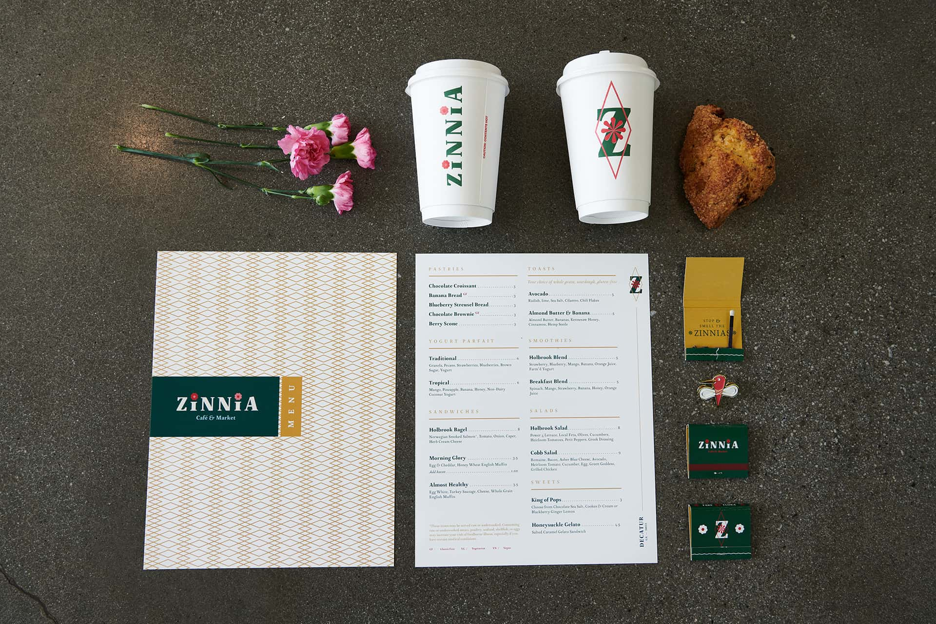 Zinnia bakery and cafe branding packaging and menu design